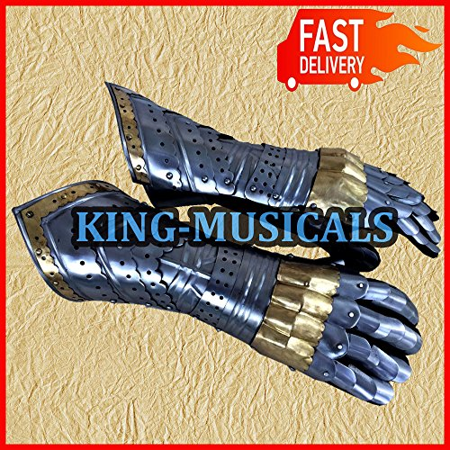 Gauntlet Gloves Armor Pair w/ Brass Accents Medieval Knight Crusader Steel by Nasir Ali