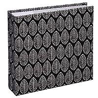 Hama Fotoalbum La Fleur (Jumbo Album mit 100 weißen Seiten, für 400 Fotos im Format 10x15, Blätter-Muster, 30x30) XXL Fotobuch, schwarz
