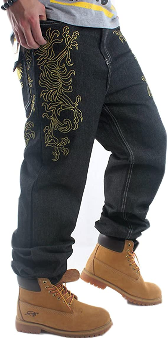 Crazy Mens Hip Hop Embroidery Baggy Jeans Denim Loose Trousers