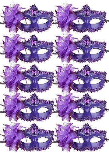 10pcs Set Mardi Gras Half Masquerades Venetian Masks Costumes Party Accessory (purple-10pc) ()