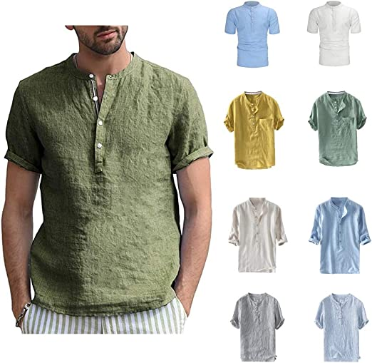 Men/'s Short Sleeve Cotton Linen Chinese style T Shirt Tops Tees Casual Summer
