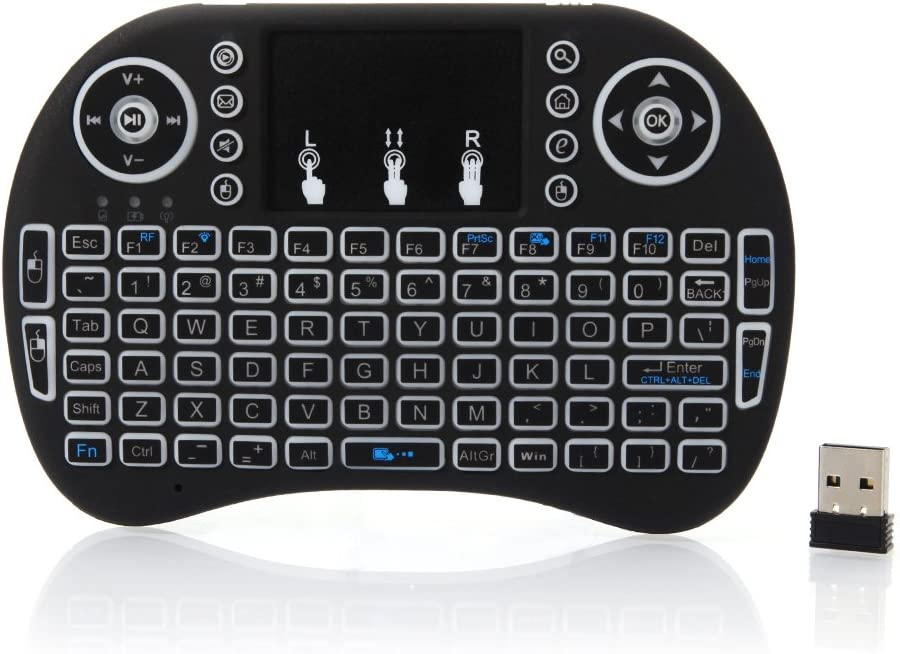 3-Color, Black QJR i8 2.4GHz Mini LED Backlit Wireless Keyboard with Touchpad for Game Pc//Mac//Android