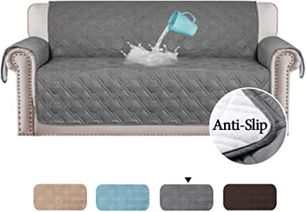 100% Waterproof Sofa Protectors from Pets/Dogs/Kids Sofa Covers 3 Seater Couch Covers Furniture Protector Covers Soft Quilted with Non Slip Strap,3 Seater, Grey