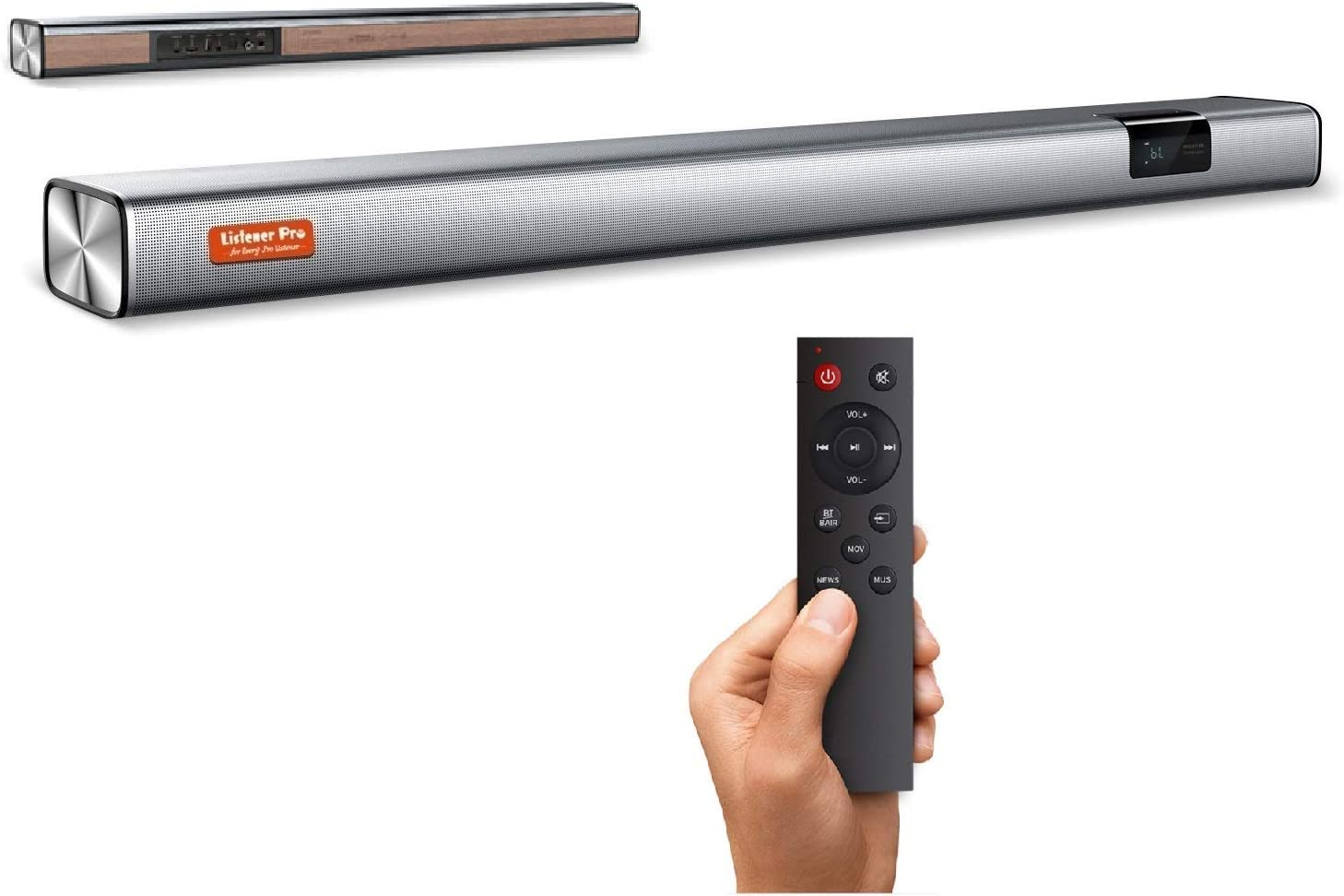 Listener Pro Slim Sound Bars for TV & Projector, Wireless Soundbar HDMI ARC/Opt/AUX/COX/USB Inputs, Bluetooth TV Speaker for Home Theater Sound Bar System, CE/FCC/ROHS Certified (35inch)