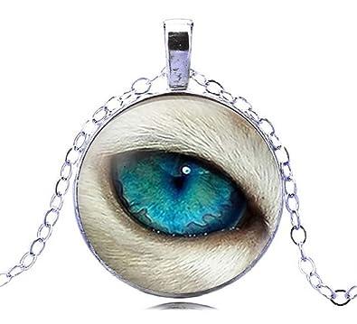 Amazon 2018 fashion design wolf eye necklace glass dome paper 2018 fashion design wolf eye necklace glass dome paper art wolf necklace with blue eyes cabochon aloadofball Images