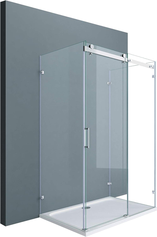 doporro Cabina de ducha en forma de U diseño Ravenna17-2, 80x140x195cm con puerta corrediza divisora y vidrio templado de seguridad transparente | Fijación de 4 puntos.: Amazon.es: Bricolaje y herramientas