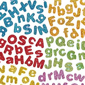 Glitter Foam Self-Adhesive Upper & Lower Case Letters 6 Assorted colors for Kids to Personalise Cards and Crafts (Pack of 850)