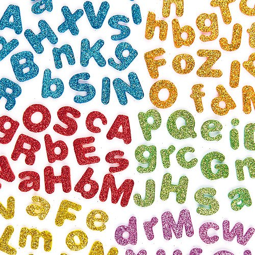 Baker Ross Glitter Foam Self-Adhesive Upper & Lower Case Letters 6 Assorted colors for Kids to Personalise Cards and Crafts (Pack of 850)