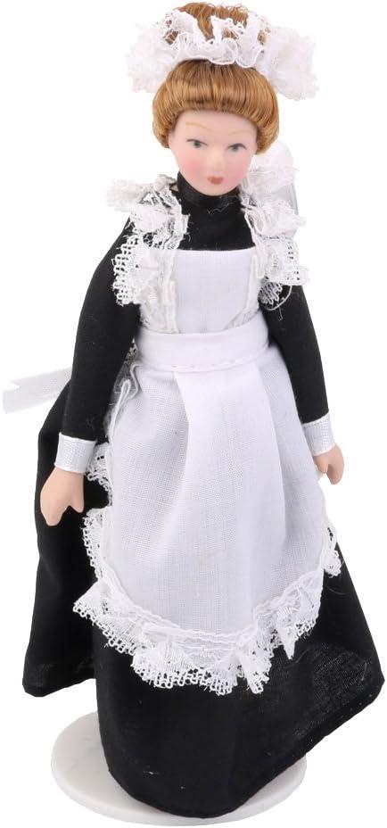 P Prettyia 1/12 Figura de Muñecas de Servienta Victoriana con Delantal Articulados en Miniatura Decoración para Hogar Dormitorio