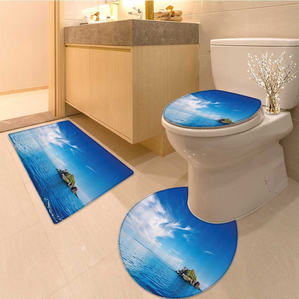 3 Piece Anti-slip mat setIsland Collection Stunning Tropica Island Sky over at Cook Islands Exotic Getaway Sce Non Slip Bathroom Rugs by NALAHOMEQQ