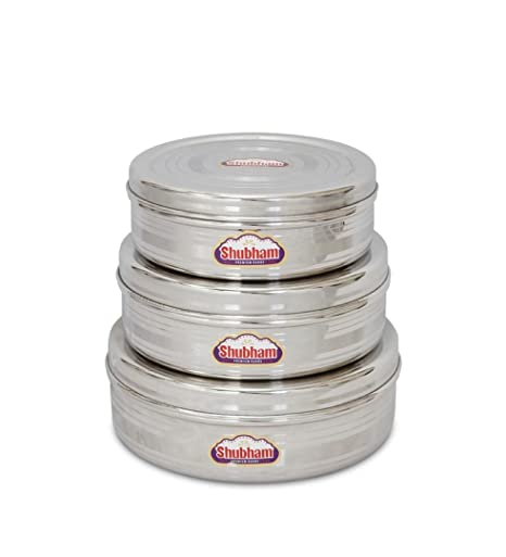 099d54b2204 Buy Shubham Flat Storage Steel Container - 3 Pc Set .7-1.5 Litre SR Puri  RBW S9-11 Online at Low Prices in India - Amazon.in