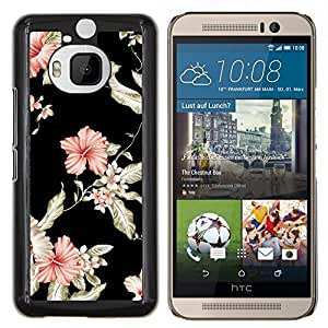 EJOOY---Cubierta de la caja de protección para la piel dura ** HTC One M9Plus M9+ M9 Plus ** --Papel pintado floral Negro Rosa Jardín Flores