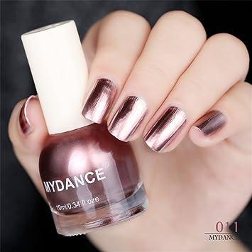 1 Bottles 10ml Rose Gold Silver Mirror Nail Polish Metal Varnish Metallic Manicure