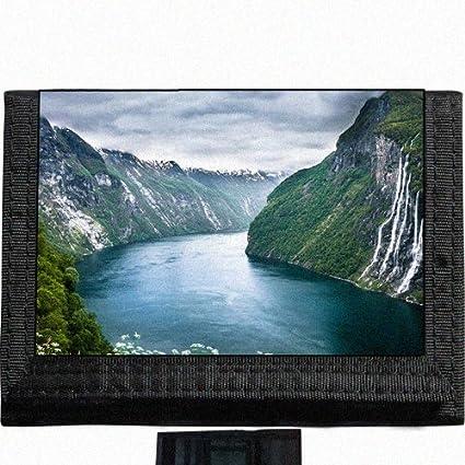 Scenic Mountains Lake Nature River Black TriFold Nylon Wallet Great Gift  Idea