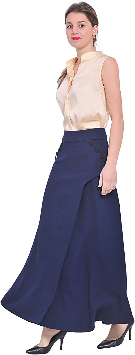 Victorian Skirts | Bustle, Walking, Edwardian Skirts Midi Tea Long Skirts Marycrafts Womens Office Work Party A Line Flared $39.90 AT vintagedancer.com