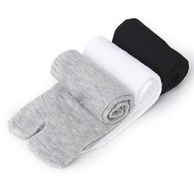 Fedi Apparel Elastic Cotton Tabi Toe Socks Flip-Flop Socks 3 Pairs (White + Grey + Black)