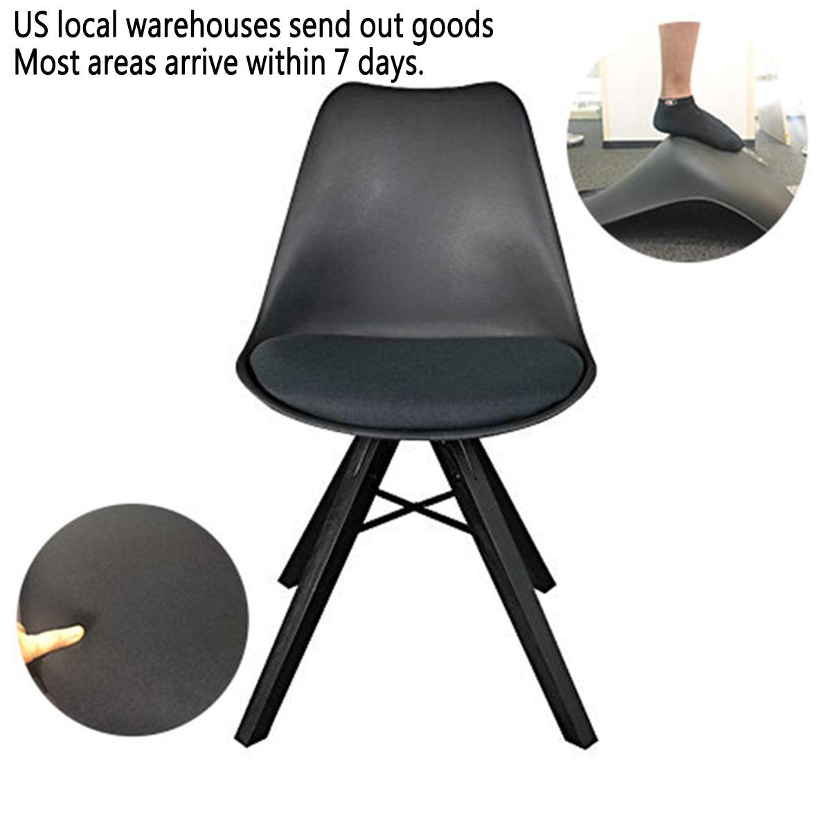 YURUCY Office Chair Simple Modern Chair Mid Century Modern Wood Assembled Legs Sturdy Retro Chair for Kitchen Dining Room Bedroom Living Room(1pcs-Black)