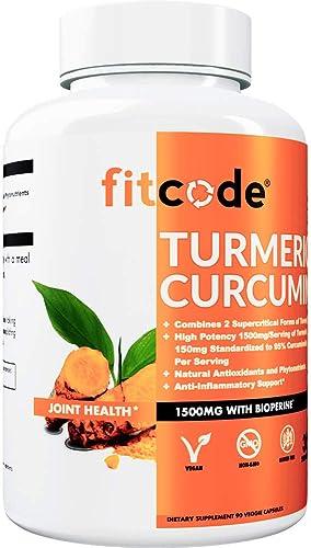 fitcode Turmeric Curcumin with 95 Curcuminoids, Highest Potency, Non-GMO, Gluten Free, 1500mg of Ultra-Pure Turmeric Curcumin with Bioperine for Enhanced Absorption, 30 Serving Veggie Capsules