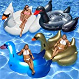 BESTChoiceForYou Giant Birds Combo 4-Packs Swimming Pool Float Raft Friendly Toy Floater Outside Activity Float - LED Swan, White Swan, Black Swan and Golden Goose