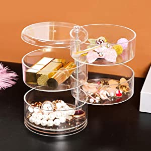 Guolich Jewellery Organiser Box 4 Layers Clear Acrylic 360° Rotating Cosmetic Storage Spin Holder for Necklace Bracelet Ring Earring Small Items Container Case