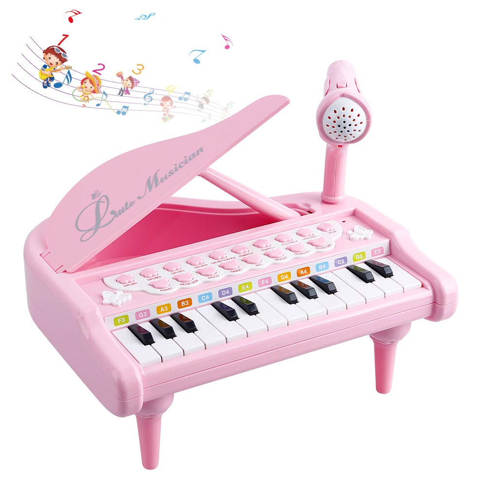 Okreview Piano Toy Keyboard 1 2 3 4 Year Old Kids Birthday Multifunctional with Microphone Pink (24 Keys) by Okreview