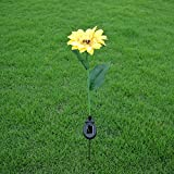 Yiwa Simulate Solar-Powered LED Sunflower Light Stylish Lawn Pin Lamp Yard Garden Party Christmas Wedding Halloween Festival Decoration