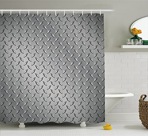 Ambesonne Grey Shower Curtain, Wire Fence Design Netting Display with Diamond Plate Effects Chrome Kitsch Motif Print, Fabric Bathroom Decor Set with Hooks, 75 Inches Long, Silver - Motif Display