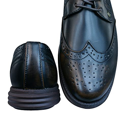 Firetrap Bud Ata para arriba Brogues / zapatos de los hombres-Charcoal Grey-42 cvRCE