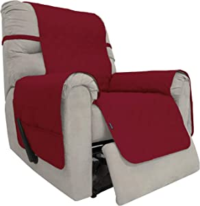 Easy-Going Sofa Slipcover Waterproof Recliner Chair Cover Non-Slip Fabric Couch Cover for Living Room Washable Furniture Protector for Pets Kids Children Dog Cat (Recliner, Christmas Red)