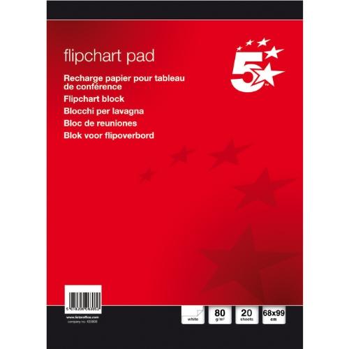 5 Star(TM) Flipchart Blocks 68x99 cm kariert/blanko 80 g/qm Inh.5 Blöcke à 20 Blatt