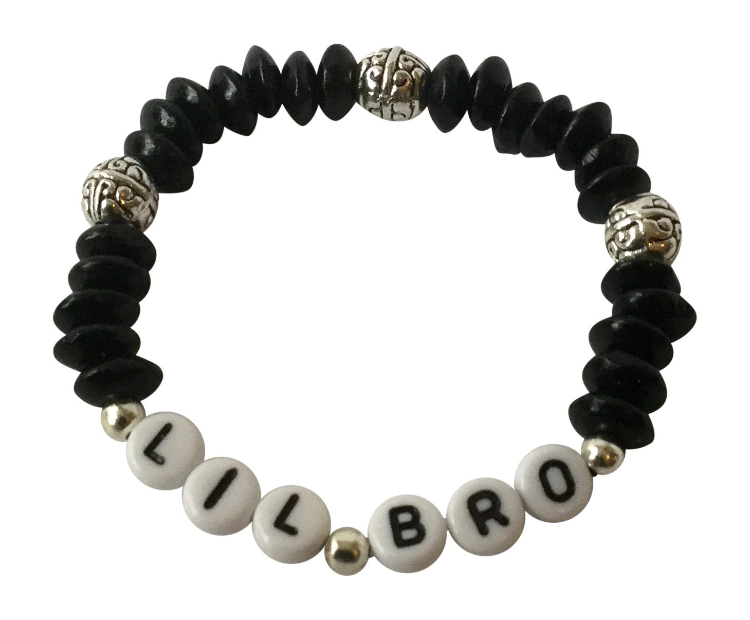PERSONALISED Little BROTHER Gift BRACELET Lil Bro Boys Jewellery black beads Gifts At Dawn (S (approx 3-6 years))