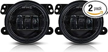Galvor 4 Inch Round LED Fog Light Bulb for Jeep Wrangler JK TJ LJ Driving Lights Pair