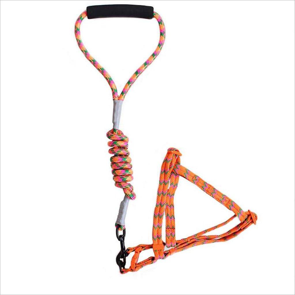 GHMM Tracolla petto catena in nylon intrecciato all'aperto da corsa Moda Morbido Confortevole portafortuna multi colore opzionale (blu arancio rosa giallo) Guinzaglio per animali domestici