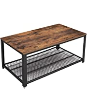 "VASAGLE Industrial Coffee Table with Storage Shelf for Living Room, Wood Look Accent Furniture with Metal Frame, Easy Assembly, Rustic Brown ULCT61X, 41. 8"" L x 23. 7"" W x 17. 7"" H"