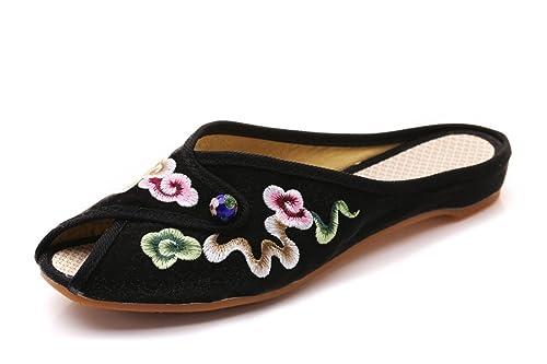 Zapatillas Bordadas Estilo Chino Antiguo Bordado de Moda Peonía Paño Zapatos Dama: Amazon.es: Zapatos y complementos