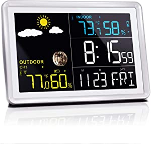 Wittime Latest 2081 Wireless Indoor Outdoor Thermometer, HD Color Screen, Digital Temperature Humidity Monitor with Sensor, Room Hygrometer with Weather Forecast, Alarm Clock