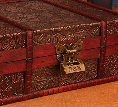 Bestwoo Vintage Treasure Storage Trunk Box Wood Jewelry