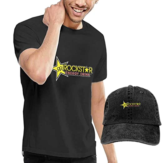 aed1748ab3e Ayaateg Rockstar Energy Drink Men s Comfortable T-Shirts and Hats  Combination Black