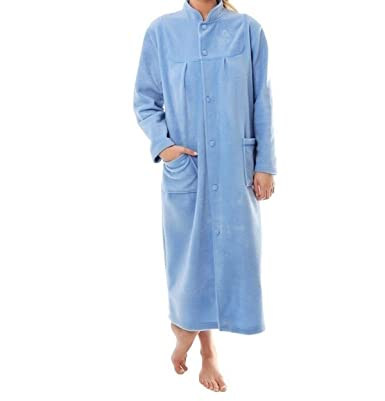 Lady Olga Fleece Button Through Dressing Gown Robe With Satin Piping ...