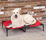 Pet Elevated Steel Frame Portable Mesh Cot Bed for Dog Cat (L - Red)
