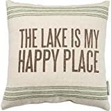 Primitives by Kathy Vintage Flour Sack Style the Lake Is My Happy Place Throw Pillow, 15-Inch Square
