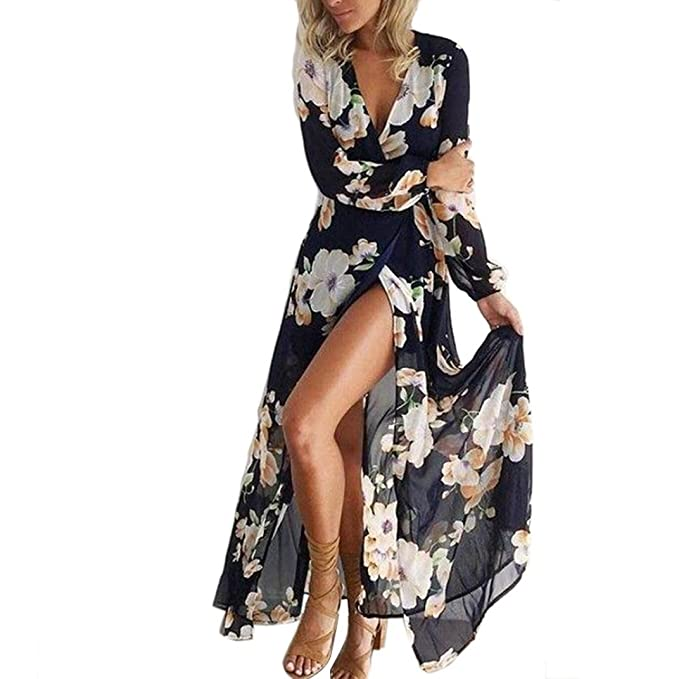921d0599e49b feiXIANG Vestito da Donna, Abito Abiti Vestito da Matrimonio Damigella  d'Onore di Cerimonia Pizzo Partito Signore Stampa Floreale Manica Lunga  Boho Sera ...