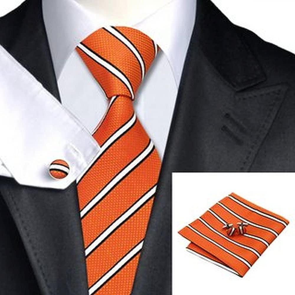 Jason&Vogue - Corbata - Rayas - para hombre naranja naranja Talla ...