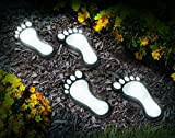 Jobar International (Set/4) Solar Powered Barefoot Footprints Outdoor LED Walkway Pathway Lights