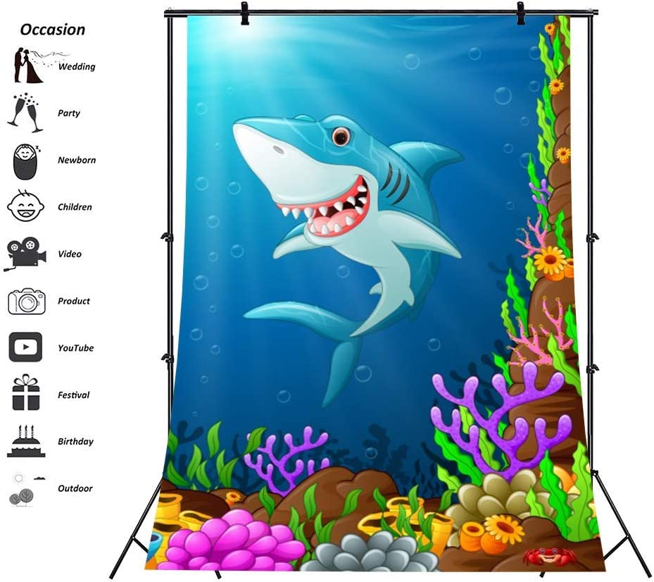 6x8ft Cartoon Under Sea Shark Backdrop Colorful Rock and Coral Air Bubbles Kids Happy Birthday Party Background Photo Studio Props Vinyl Wallpaper