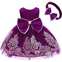 Lace Flower Girl Bowknot Tutu Dress for Kids Baby Christening Baptism Communion Birthday Party Wedding Dresses+Headwear
