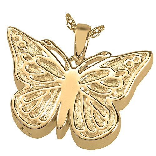 (Cremation Memorial Jewelry: 14K Solid Yellow Gold Perfect Filigree Butterfly)