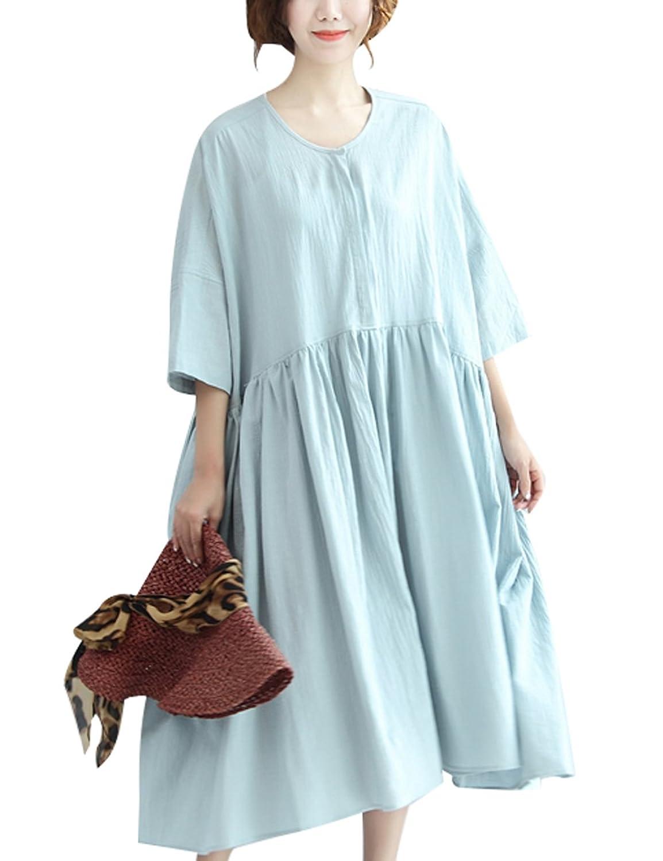 Youlee Damen Sommer Baumwolle Plus Size Kleid Mutterschaft Kleid