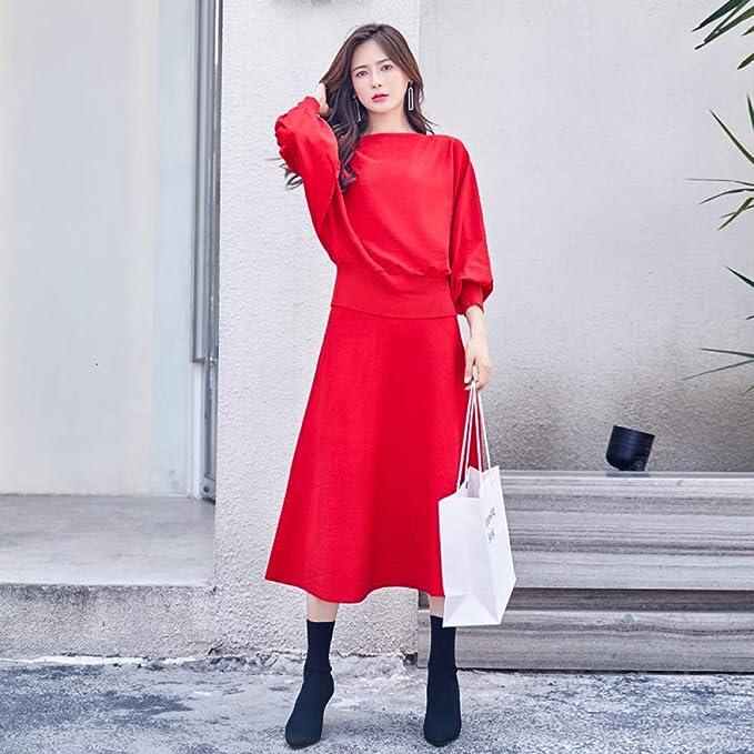 ZHILV Falda De Dos Piezas,Elegante Roja Coreana Otoño Invierno ...