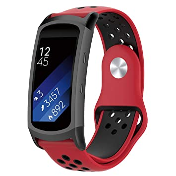 AOLVO - Correa de Silicona para Reloj Samsung Gear Fit2 Pro SM-R365, Gear Fit2 SM-R360, Red-Black